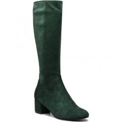 Kozaki EKSBUT - 98-5180-L04-1G Zielony. Zielone buty zimowe damskie Eksbut, z materiału, przed kolano, na wysokim obcasie, na obcasie. Za 429,00 zł.