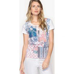 Bluzki asymetryczne: Wzorzysta bluzka z okrągłym dekoltem i krótkim rękawem