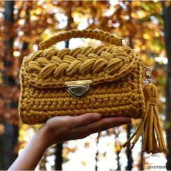 Szydełkowa torebka - kolor musztardowy. Brązowe torebki klasyczne damskie Pakamera. Za 219,00 zł.