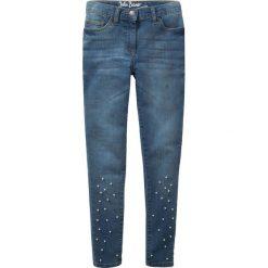 """Dżinsy SKINNY  z perełkami bonprix niebieski """"bleached"""". Niebieskie rurki dziewczęce bonprix, z jeansu. Za 79,99 zł."""