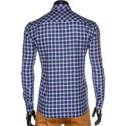 KOSZULA MĘSKA W KRATĘ Z DŁUGIM RĘKAWEM K420 - GRANATOWA/ZIELONA. Brązowe koszule męskie na spinki marki Ombre Clothing, m, z aplikacjami, z kontrastowym kołnierzykiem, z długim rękawem. Za 49,00 zł.