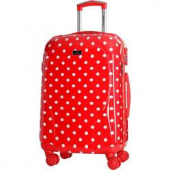 Walizka w kolorze czerwonym ze wzorem - 62 l. Czerwone walizki Platinium, z materiału. W wyprzedaży za 259,95 zł.
