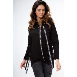 Bluzy rozpinane damskie: Bluza zakładana czarna 1388