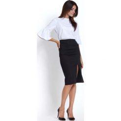 Biała Elegancka Koszulowa Bluzka z Falbanką. Czarne bluzki asymetryczne Molly.pl, l, eleganckie, z podwyższonym stanem, midi, dopasowane. Za 99,90 zł.