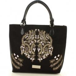 MONNARI Niezwykła torba shopper bag z haftowanym wzorem czarny. Czarne shopper bag damskie marki Monnari, z haftami, z haftem. Za 179,00 zł.