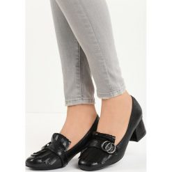 Czarne Czółenka Ian. Czarne buty ślubne damskie Born2be, ze skóry, na niskim obcasie, na słupku. Za 59,99 zł.