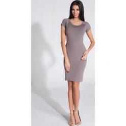 Sukienki: Cappuccino Sukienka Dopasowana z Odkrytymi Plecami