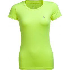 Koszulka treningowa damska TSDF600 - żółty neon - Outhorn. Żółte bluzki z odkrytymi ramionami Outhorn, z materiału. W wyprzedaży za 29,99 zł.