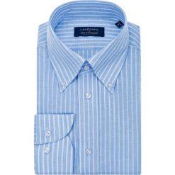 Koszula Niebieska w Prążek Highway. Niebieskie koszule męskie na spinki marki LANCERTO, z bawełny. Za 299,00 zł.