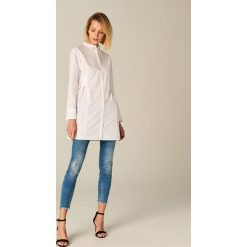 Koszule body: Długa koszula z gorsetowym wiązaniem - Biały