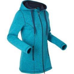 Bluzy damskie: Bluza rozpinana dzianinowa z polaru, długi rękaw bonprix ciemnoturkusowy melanż