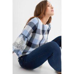 Bluzki damskie: Bluzka w kratę z falbaną