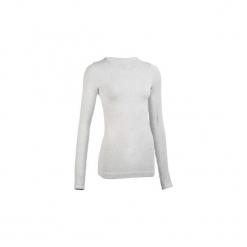Koszulka długi rękaw Yoga damska. Szare t-shirty damskie marki DOMYOS, xs, z bawełny. W wyprzedaży za 79,99 zł.