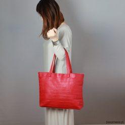Torebki klasyczne damskie: Czerwona torebka ze skóry naturalnej