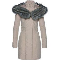 Płaszcz ze sztucznym futerkiem bonprix beżowo-szary. Szare płaszcze damskie z futerkiem marki bonprix. Za 179,99 zł.