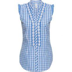 Bluzka w ludowym stylu bonprix niebiesko-biały w kratę. Czarne bluzki z odkrytymi ramionami marki MEDICINE, l, z tkaniny, casualowe, z dekoltem w łódkę. Za 49,99 zł.