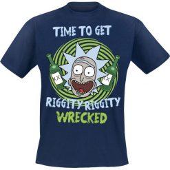 Rick And Morty Riggity Riggity Wrecked T-Shirt niebieski. Niebieskie t-shirty męskie z nadrukiem marki Reserved, l, z okrągłym kołnierzem. Za 74,90 zł.