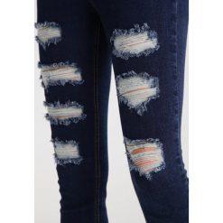 Missguided SINNER EXTREME RIPPED  Jeans Skinny Fit blue. Niebieskie jeansy damskie marki Missguided, z bawełny. W wyprzedaży za 143,20 zł.