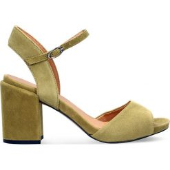 Sandały HANA. Brązowe sandały damskie na słupku Gino Rossi, w paski, ze skóry, na wysokim obcasie. Za 279,90 zł.