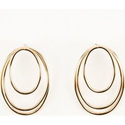 Kolczyki damskie: NA-KD Accessories Kolczyki owalne koła – Gold