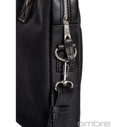 TORBA MĘSKA TECZKA A024 - CZARNA. Czarne aktówki męskie Ombre Clothing, z tkaniny. Za 119,00 zł.