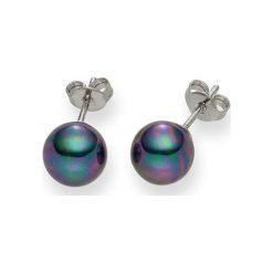 Kolczyki damskie: Kolczyki-wkrętki w kolorze antracytowym z perłami