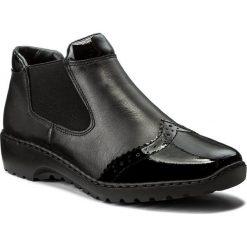 Sztyblety RIEKER - L6099-00 Schwarz. Czarne buty zimowe damskie marki Kazar, ze skóry, na wysokim obcasie, na sznurówki. W wyprzedaży za 189,00 zł.