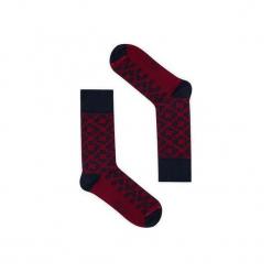 Burgundowa mozaika - wizytowe skarpetki Spox Sox. Czerwone skarpetki męskie marki Spox sox. Za 25,00 zł.