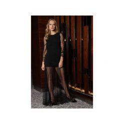 Elegancka Sukienka Wieczorowa MD. Czarne sukienki balowe marki Martino demi, m, w koronkowe wzory, z koronki, z włoskim kołnierzykiem, wyszczuplające. Za 999,00 zł.