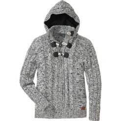 Sweter Regular Fit bonprix czarny melanż. Czarne swetry klasyczne męskie bonprix, l, z aplikacjami, z kapturem. Za 129,99 zł.