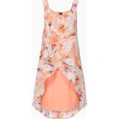 Sukienka z kwiatowym nadrukiem bonprix koralowy z nadrukiem. Pomarańczowe sukienki hiszpanki bonprix, na lato, z nadrukiem. Za 59,99 zł.
