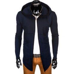 BLUZA MĘSKA Z KAPTUREM NARZUTKA B822 - GRANATOWA. Niebieskie bluzy męskie rozpinane marki Ombre Clothing, m, z bawełny, z kapturem. Za 79,00 zł.