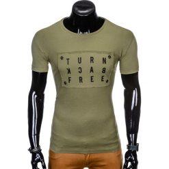T-SHIRT MĘSKI Z NADRUKIEM S975 - KHAKI. Brązowe t-shirty męskie z nadrukiem Ombre Clothing, m. Za 29,00 zł.