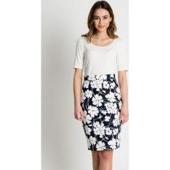 Minispódniczki: Biało-granatowa spódnica ołówkowa  BIALCON