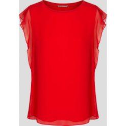 Bluzka z falbanami. Brązowe bluzki z odkrytymi ramionami marki Orsay, s, z dzianiny. Za 79,99 zł.