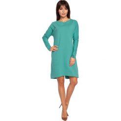 ELI Sukienka asymetryczna zielona. Zielone sukienki asymetryczne BE, l, z asymetrycznym kołnierzem, z krótkim rękawem, mini. Za 139,99 zł.
