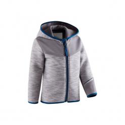 Bluza na zamek z kapturem Gym & Pilates 500 dla maluchów. Szare bluzy niemowlęce marki DOMYOS, z elastanu, z kapturem. Za 54,99 zł.