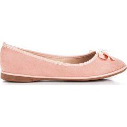 Baleriny damskie: Eleganckie zamszowe baleriny JADE różowe