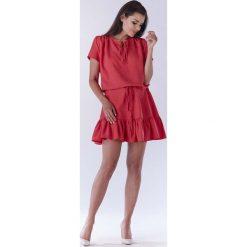 Różowa Mini Sukienka w Stylu Boho z Krótkim Rękawem. Czerwone sukienki boho Molly.pl, do pracy, na lato, l, w jednolite wzory, z tkaniny, z krótkim rękawem, mini. Za 139,90 zł.