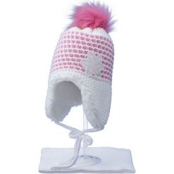 Czapka dziecięca z szalikiem CZ+S 043C różowo-biała r. 48-50. Białe czapeczki niemowlęce marki Proman. Za 52,11 zł.