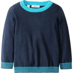 Swetry męskie: Sweter dzianinowy bonprix ciemnoniebiesko-błękit laguny