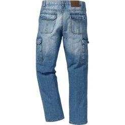 Dżinsy bojówki Regular Fit Straight bonprix niebieski. Zielone jeansy męskie regular marki bonprix, w kropki, z kopertowym dekoltem, kopertowe. Za 59,99 zł.