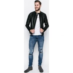 Review - Jeansy Jeremy skinny. Niebieskie jeansy męskie skinny Review, z aplikacjami, z bawełny. Za 219,90 zł.
