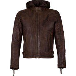 Kurtki męskie: Skórzana kurtka w kolorze ciemnobrązowym