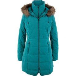 Krótki płaszcz z kapturem bonprix kobaltowo-turkusowy. Szare płaszcze damskie z futerkiem marki bonprix. Za 239,99 zł.