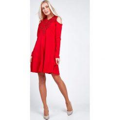 Sukienki: Sukienka z gipiurą czerwona 6679