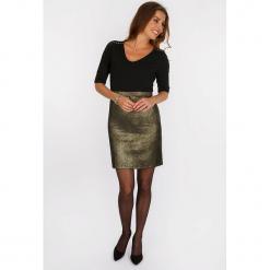 """Sukienka """"Dorée"""" w kolorze czarno-złotym. Czarne sukienki balowe marki Scottage, z aplikacjami, mini. W wyprzedaży za 113,95 zł."""