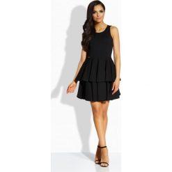 Sukienki balowe: Elegancka sukienka z podwójną falbaną czarna