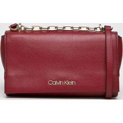 Calvin Klein - Torebka. Brązowe torebki klasyczne damskie marki Calvin Klein, w paski, z materiału, średnie. Za 539,90 zł.