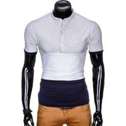 T-shirty męskie z nadrukiem: T-SHIRT MĘSKI BEZ NADRUKU S875 – SZARY/GRANATOWY